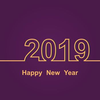 2019 Happy New Year on purple background