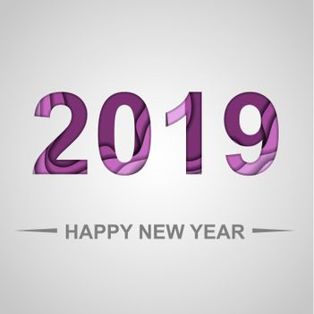 Happy new year 2019 with paper cut shapes background