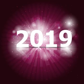 2019 Happy New Year on pink background