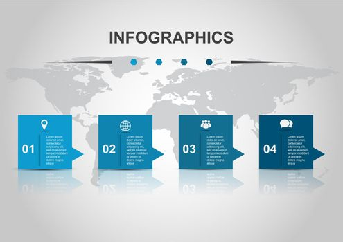 Infographic design template banners with reflect