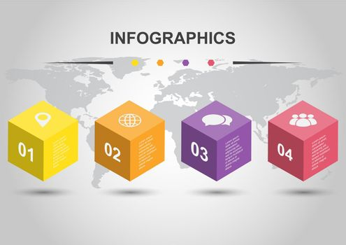 Infographic design template with cubes