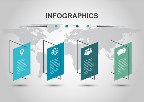 Infographic design template with shear banners