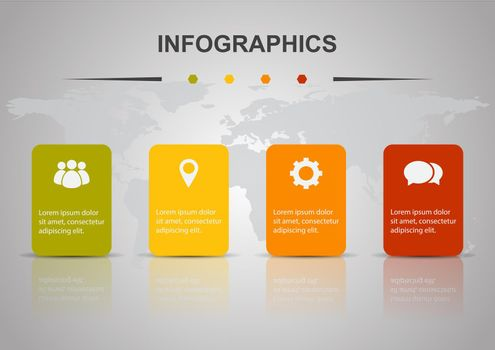 Infographic design template with four rectangles