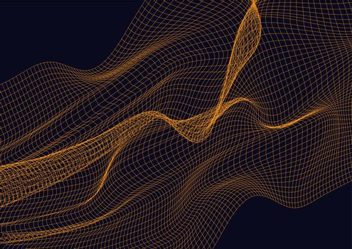 Abstract design element with orange waves background