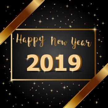 Golden bow Happy New Year 2019 with dark background