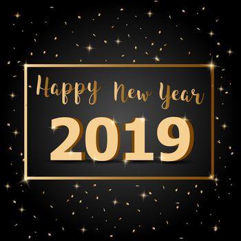 Golden Happy New Year 2019 with dark background
