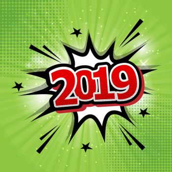 2019 happy new year comic text speech bubble