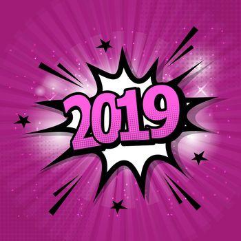 2019 comic text speech bubble on purple background