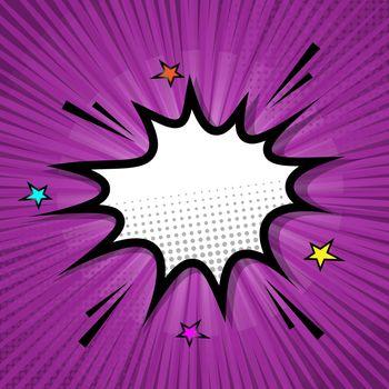 Retro speech bubble on purple background