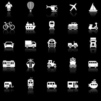 Vehicle icons with reflect on black background
