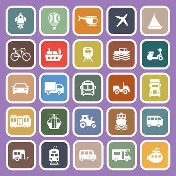 Vehicle flat icons on purple background