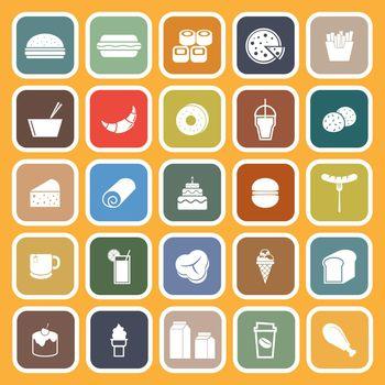 Popular food flat icons on orange background