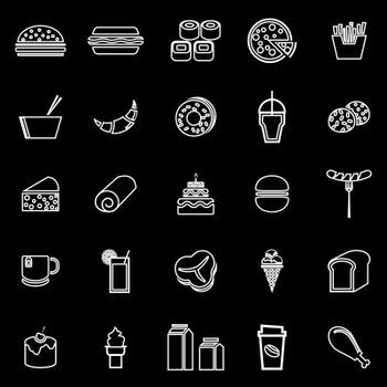 Popular food line icons on black background