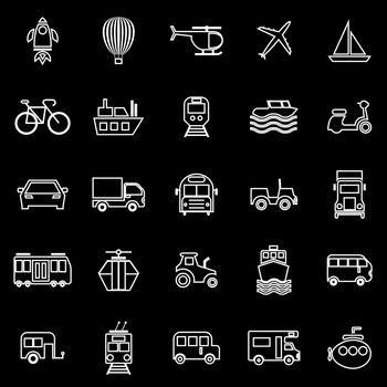 Vehicle line icons on black background