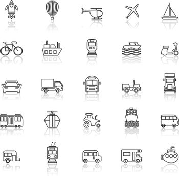 Vehicle line icons with reflect on white background