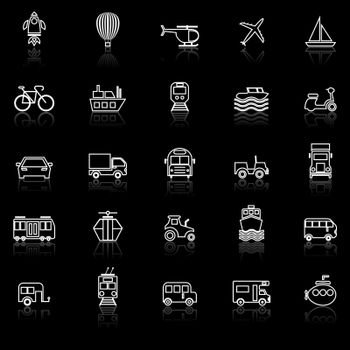 Vehicle line icons with reflect on black background