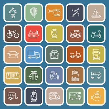 Vehicle line flat icons on blue background