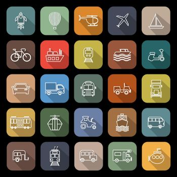 Vehicle line flat icons with long shadow