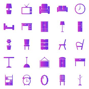 Furniture gradient icons on white background