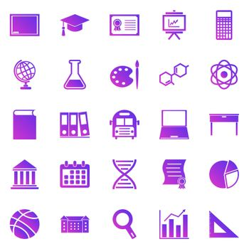 Education gradient icons on white background