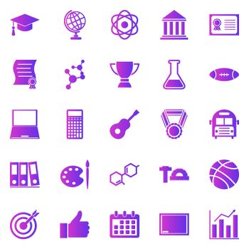College gradient icons on white background