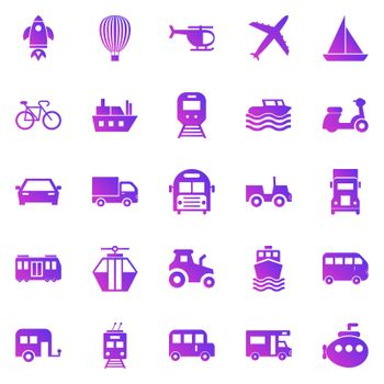 Vehicle gradient icons on white background