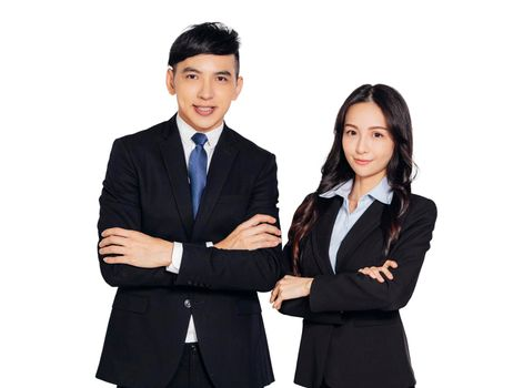 successful asian young business man and woman looking at camera
