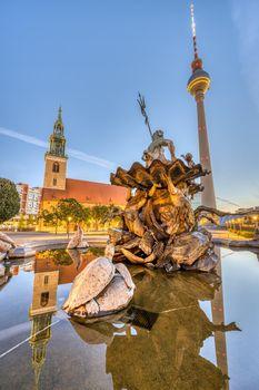 The Neptune Fountain at Alexanderplatz in Berlin