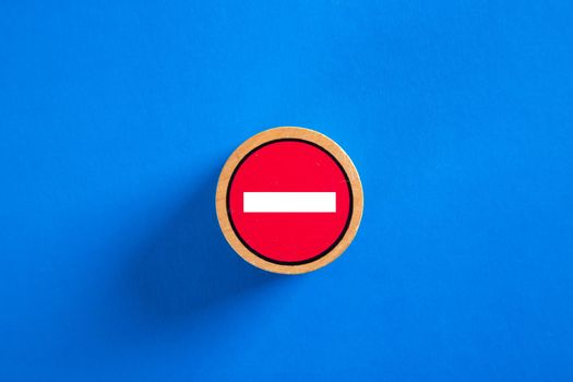 No entry sign on blue background.