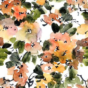 Watercolor tree in bloom