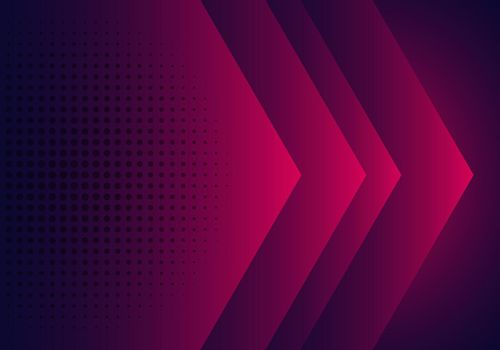 Modern abstract background pink, purple and blue gradient arrow shape overlapping layer with halftone effect. Vector illustration