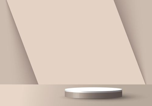3D realistic empty light brown and white round pedestal mockup overlapped on diagonal backdrop. Stage floor for your graphic. Studio room showcase of modern interior design. Vector illustration