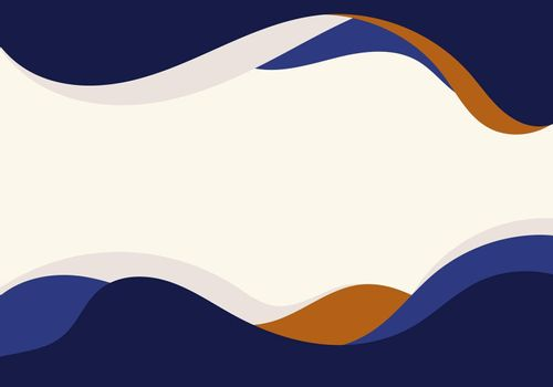 Abstract template blue and brown water wave curve shape design on white background flat design. Vector illustration