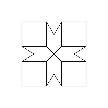 An abstract figure of four squares connected to a distant point. Flat design