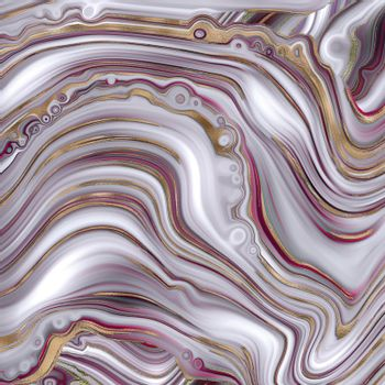 Abstract agate marble background in pastel red, fake stone texture, trendy red pink white marbling effect with gold veins, creative agate, artistic marble agate. Modern marbled surface Illustration