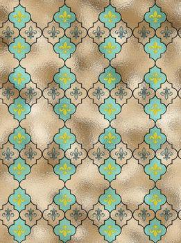 fleur-de-lis French seamless pattern with turquoise blue repeat motif lily fleur-de-Lis on gold shiny background, Illustration