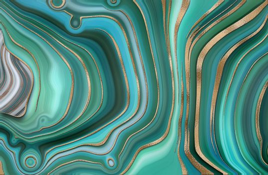 Abstract trendy turquoise green background template. Liquid marble agate abstract design with gold waves texture. Gold frame.Cover, invitation, banner, placard, brochure, poster, card, flyer. Illustration