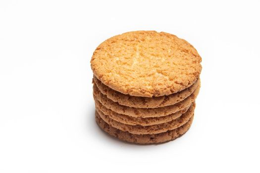 A stack of cookies isolated on a white background . Cookie. Bakery products.. Copy space