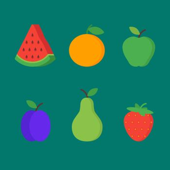 Fruits and berries set vector objects clipart