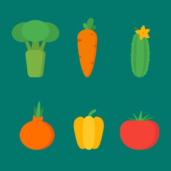 Vegetables set vector objects clipart