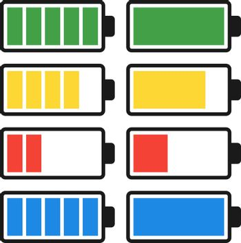Battery Discharge and Charge. Set Icons