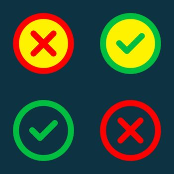Close and check mark icons. Vector icons