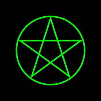 Pentagram five-pointed star green color. Magic sign