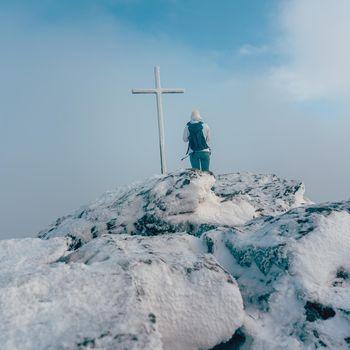 Summit cross on a mountain summit