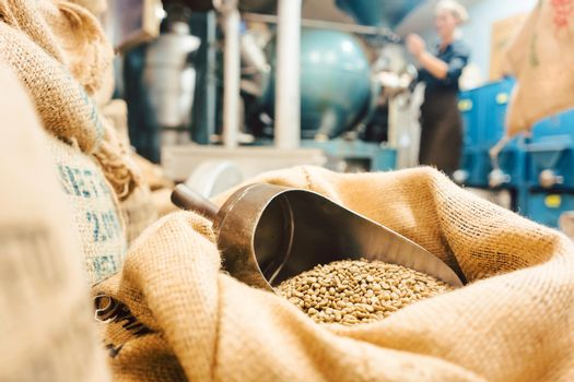 Bags of coffee in roastery or wholesale storage