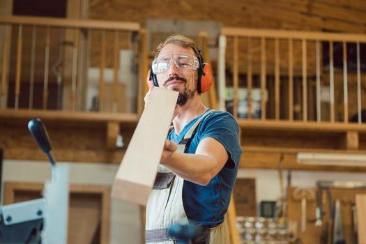 Carpenter checking his work