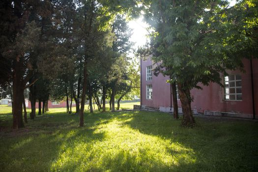 School in Zagatala with yard. Azerbaijan village in summer time. Zaqatala district