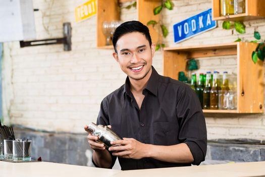 Portrait of bartender holding shaker