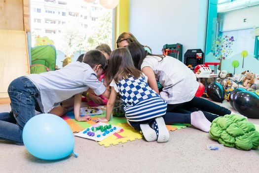 Group of pre-school children during educational activity