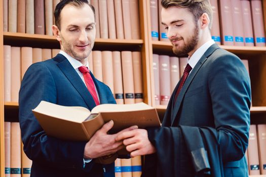 Two lawyers in the law firm discussing cases and precedents